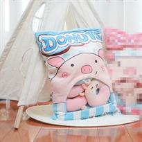 Мягкая игрушка подушка голубая Пачка пончиков свинок купить в Москве