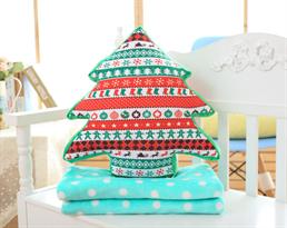 Мягкая игрушка подушка новогодняя елка с голубым пледом купить в Москве