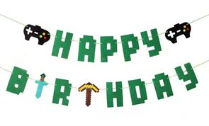 Надпись на стену Happy Birthday в стиле Майнкрафт купить