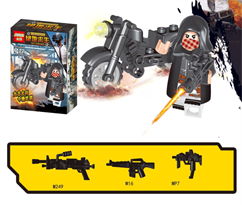 Минифигурка героя игры ПАБГ на байке (PUBG) совместима с Лего купить