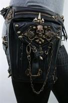 Сумка стимпанк черная  с черепом и шипами