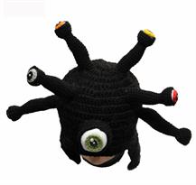 Свободная черная вязаная шапка с глазами купить в Москве