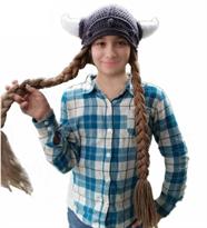 Вязаная шапка Викинга с рогами и длинными косами купить в Москве