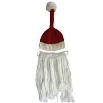 Вязаная шапка Санта Клауса с бородой купить в Москве