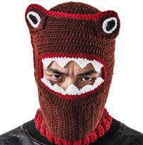 Вязаная шапка коричневого цвета закрывающая лицо купить в Москве