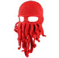 Красная вязаная шапка осьминог закрывающая лицо купить
