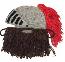 Вязаная шапка Римский шлем с бородой купить в Москве
