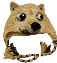 Вязаная шапка с ушками Собака Шиба Ину купить в Москве