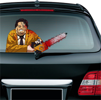 Наклейка на машину Кожаное Лицо Техасская резня бензопилой купить в Москве