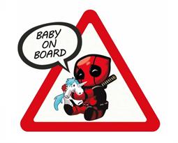 Наклейка малыш Дэдпул Baby on Board купить в Москве