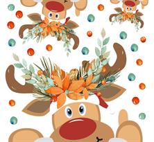 Интерьерная наклейка Рождественские Олени купить в Москве