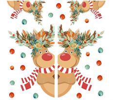 Интерьерная наклейка Новогодние Олени купить в Москве