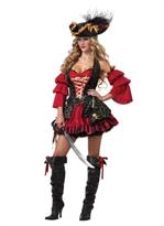 Женский пиратский костюм с красным платьем