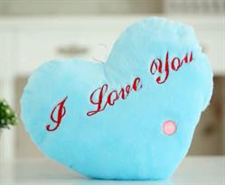 Мягкая игрушка подушка голубое сердце I Love You (светится) купить в Москве