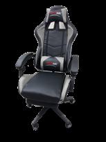 Киберспортивное черно-серое кресло (нейлоновая ножка и подставка для ног) купить в Москве