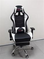 Киберспортивное черно-белое кресло (металлическая хромированная ножка)