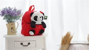 Детский плюшевый рюкзак с игрушкой Панда (красный)