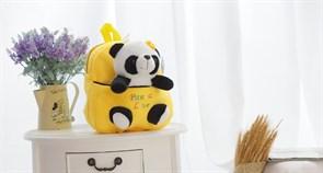 Детский плюшевый рюкзак с игрушкой Панда (желтый)