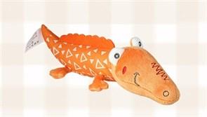 Игрушка-погремушка крокодил (оранжевый с треугольниками)