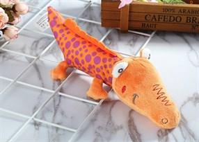 Игрушка-погремушка крокодил (оранжевый в горошек)
