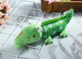 Игрушка-погремушка крокодил (зеленый в ромбик)