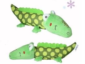 Игрушка-погремушка крокодил (зеленый в горошек)