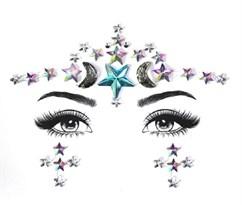 Алмазная Тату наклейка на глаза месяц и звезды