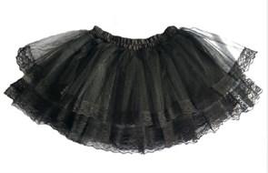 Юбка Лолита с кружевом (Черная) купить с доставкой
