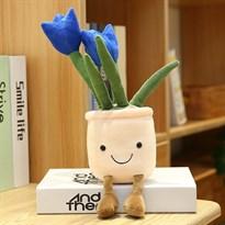 Плюшевый вазон с тюльпанами (синий)