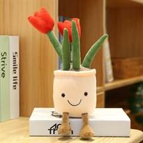 Плюшевый вазон с тюльпанами (красный)