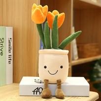 Плюшевый вазон с тюльпанами (оранжевый)