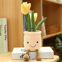 Плюшевый вазон с тюльпанами (желтый)