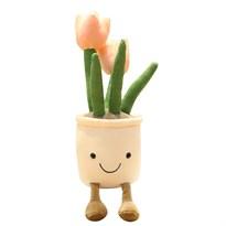 Плюшевый вазон с тюльпанами (розовый)