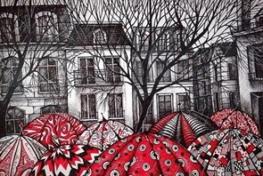 Картина по номерам Красные зонтики купить