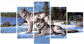 Картина по номерам полиптих Два волка на зимней опушке купить