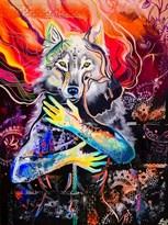 Картина по номерам Волк на красно-черном купить