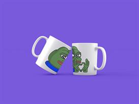Кружка с мемом лягушка Пепе (Pepe the Frog) показывает жестом сердце купить
