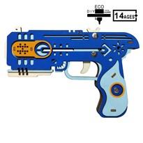 Деревянный пистолет резинкострел (синий)