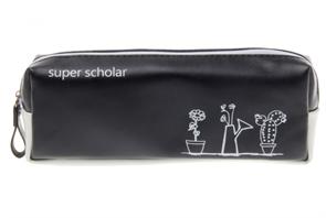 """Черно-белый пенал с надписью """"super scholar"""" купить"""