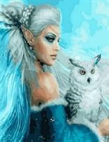 Картина по номерам Девушка-эльф с совой купить в России