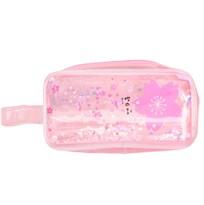 Прозрачный розовый пенал с блестками Цветы купить
