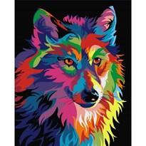 Картина по номерам радужный Волк купить в России