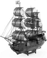 Металлический 3D конструктор корабль Черная жемчужина (Black Pearl Black Version Metal Earth) черная версия купить в Москве