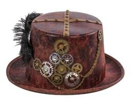 Шляпа с шестеренками в стиле Стимпанк (Цвет Коричневый) купить в России с доставкой
