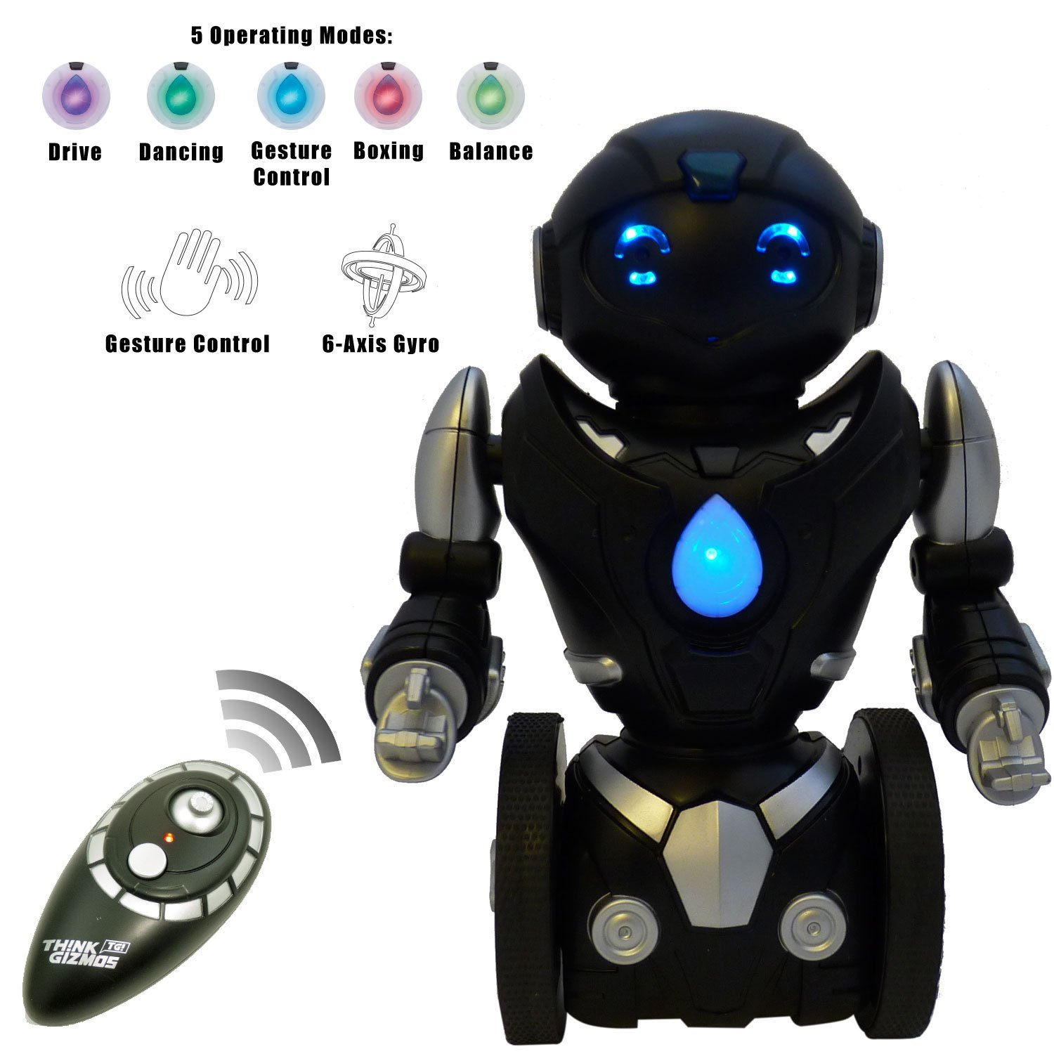 Remote Control Toy Robot For Kids TG634-S - Black & Silver Balance Robot